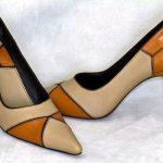 Escarpin cuir motif géométrique