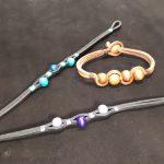 bracelet lacet cuir carré et perles