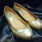 ballerine cuir doré